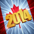 New year 2014 golden figures over shining Canadian flag — Stock Photo