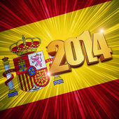 New year 2014 golden figures over shining Spanish flag — Stock Photo