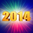 Golden new year 2014 with rainbow shining rays — Stock Photo