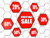 Christmas sale and percentages in red hexagons buttons — Stock Photo