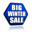 Stock Photo: Big winter sale in 3d blue hexagon banner