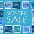 Winter sale and percentages in squares - retro blue label — Stock Photo