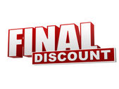 Final discount red white banner - letters and block — Stock fotografie