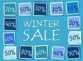 Sprzedaż zimowych i procenty w kwadraty - retro niebieska etykieta — Zdjęcie stockowe