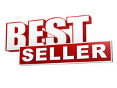 Best seller red white banner - letters and block — Foto de Stock