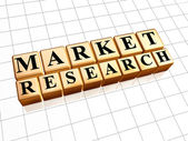 Market research in golden cubes — Stok fotoğraf