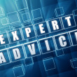 Stock Photo: Expert advice in blue glass cubes