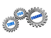 Time for change in silver grey gears — Stock Photo