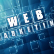 Stock Photo: Web marketing in blue glass blocks
