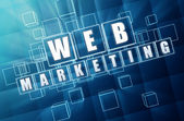 Web marketing in blue glass blocks — Stock Photo