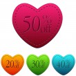 Valentines day sale and different percentages rebate in hearts b — Stock Photo #40090485
