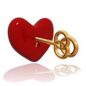 Red heart with golden key — Stock Photo