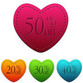 Valentines day sale and different percentages rebate in hearts b — Stock Photo