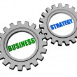 Business strategy in silver grey gears — Stok Fotoğraf #40181803