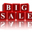 Big sale in 3d red cubes — Stock Photo