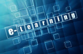E-learning in blue glass blocks — Stock Photo