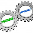 Stock Photo: Business opportunity in silver grey gears