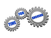 Time for success in silver grey gears — Stock Photo