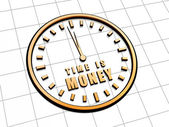 Time is money in golden clock symbol — Foto Stock