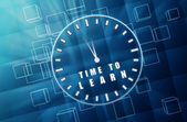 Time to learn in clock symbol in blue glass cubes — Foto Stock