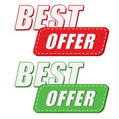 Best offer in two colors labels, flat design — Stock Photo