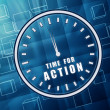 Stock Photo: Time for action in clock symbol in blue glass cubes
