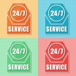 24 7 service, four colors web icons — Stock Photo