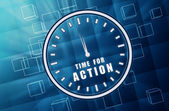 Time for action in clock symbol in blue glass cubes — Foto Stock