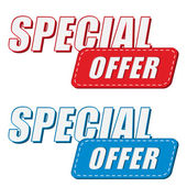 Special offer in two colors labels, flat design — Stock Photo