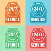 24 7 service, four colors web icons — Stock Photo
