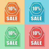 10 percentages sale, four colors web icons — Stock Photo