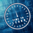 Time to learn in clock symbol in blue glass cubes — Stockfoto