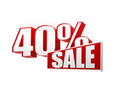 40 percentages sale in 3d letters and block — Stock Photo