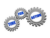 Time for action in silver grey gears — Stock Photo