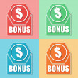 Bonus and dollar symbol, four colors web icons — Stock Photo