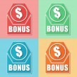 Bonus and dollar symbol, four colors web icons — Stock Photo #40815193