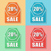 20 percentages sale, four colors web icons — Stock Photo