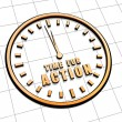 Time for action in golden clock symbol — Stock Photo