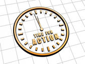 Time for action in golden clock symbol — Foto Stock
