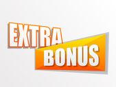 Extra bonus in flat design label — Stock Photo
