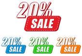 20 percentages sale, four colors labels — ストック写真