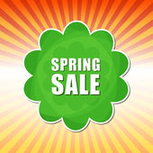 Spring sale in flower label over rays — Stock Photo