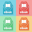 Ebook and book sign, four colors web icons — Stock Photo #41189119