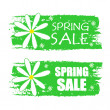 Spring sale with flowers signs, green drawn labels — Stock Photo #41189187