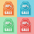40 percentages sale, four colors web icons — Stock Photo #41189205
