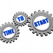 Time to start in silver grey gears — Stock Photo