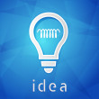 Idea and light bulb sign over blue background, flat design — Stock Photo