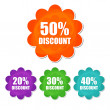 20, 30, 40, 50 percentages spring discount in four colors flower — Stock Photo #41353079