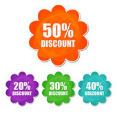 20, 30, 40, 50 percentages spring discount in four colors flower — Stock Photo