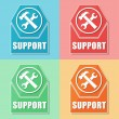 Support with tools sign, four colors web icons — Stock Photo #41577641